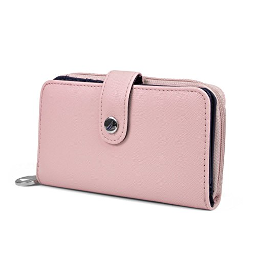 Nautica Be Shore Womens Wallet RFID Blocking Zip Around Clutch (Aloha Pink)