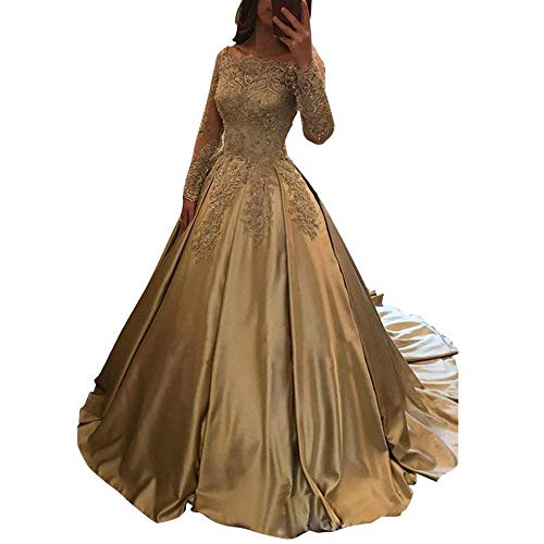 ABaowedding Women's Lace Applique Wedding Dress for Bride Strapless Long Sleeves Evening Ball Gowns US 22 Plus Szie Champagne Ivory