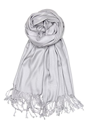 (Achillea Large Soft Silky Pashmina Shawl Wrap Scarf in Solid Colors (Silver)