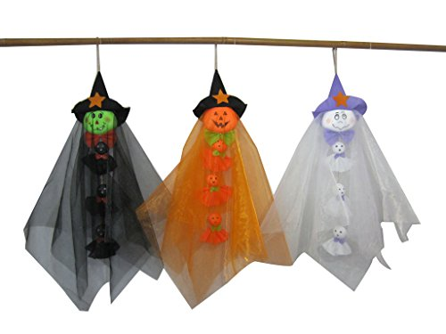 Set of 3 Ghost Pumpkin Witch 23-Inch Scarecrow Halloween Fall Harvest (Bat Halloween Makeup Tutorial)