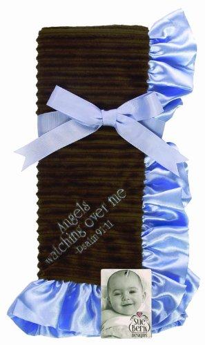 Sue Berk Designs Angels Watch Over Me Baby Blanket, Blue/Brown