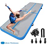 DAIRTRACK 10ft Inflatable Gymnastics Air Track Tumbling Mat Air Track Floor Mats with Electric air Pump for Home use/Training/Yoga/Cheer Leading/Beach/Park/Water.