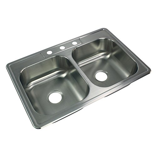 Transolid STDE33227-3 Select 3-Hole Drop-in 50/50 Double Bowl 20-Gauge Stainless Steel Kitchen Sink, 33-in x 22-in x 7-in, Brushed Finish
