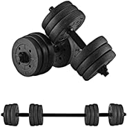 Dulcii Adjustable Weights Dumbbells Set, Total 20KG/44LBS with Connecting Rod Can Be Used As Barbell for Home