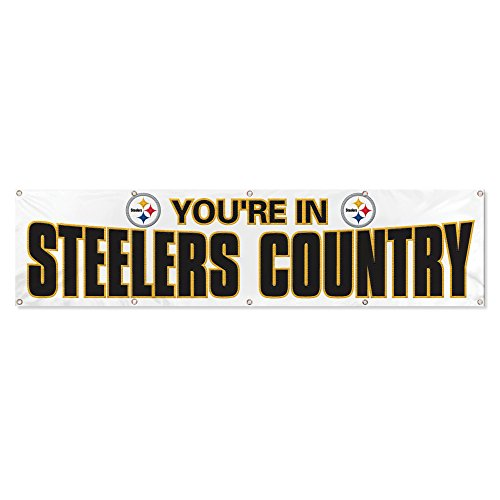 Party Animal Pittsburgh Steelers 8'x2' NFL Banner (White)