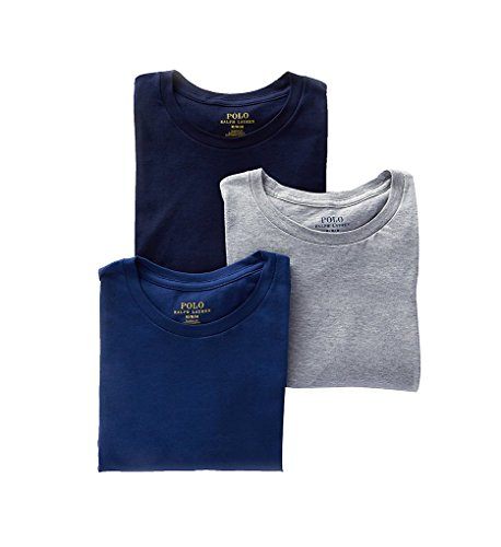 - Polo Ralph Lauren Classic Fit 100% Cotton Crew T-Shirts - 3 Pack (LCCN) S/Grey/Blue/Navy