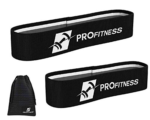 ProFitness Hip Resistance Bands [Set of 2]   Non-Slip, Durable Resistance Loop Bands for Full Body Workouts, Strength &Stamina   Perfect for Legs, Hips, Glutes, Arms, Stretching, Rehab & More