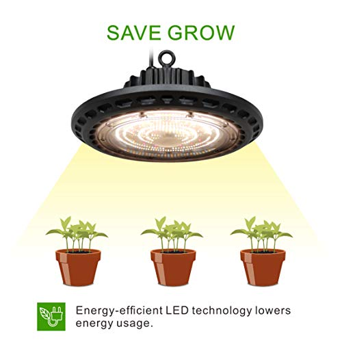 Oppolite UFO LED 300W Full Spectrum Grow Light Lamp Bulb Grow Lights for Hydroponics Greenhouse Indoor Plant Growing Low Noise Durable