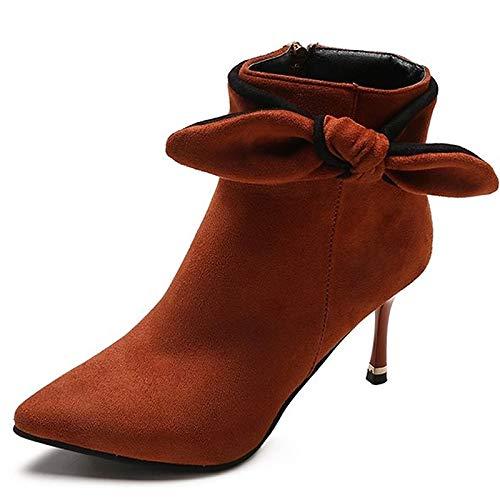 ZHZNVX Damen-Kampfstiefel PU-Stiefel Stiletto Heel Spitz Toe Stiefelies Stiefeletten Schwarz Orange