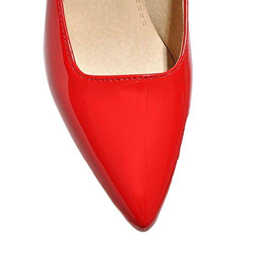 Ballet Tirare AgooLar Solid Rosso Flats Tacco GMMDB006729 Donna Medio XTxgUzq