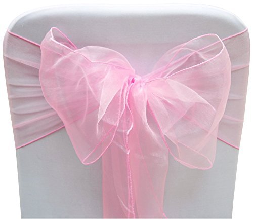 (Set of 10 Chair Bows Sashes Tie Back Decorative Item Cover ups For Wedding Reception Events Banquets Chairs Decoration Baby Pink)