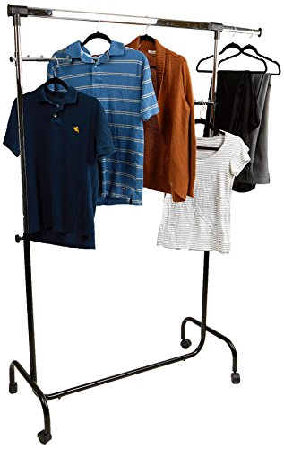 Mind Reader Heavy Duty Rolling Clothing Garment Rack, Commercial Grade Single Rail, with Hooks, Silver