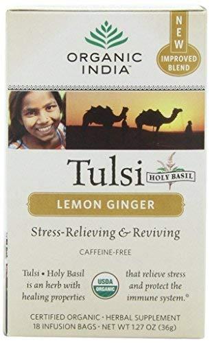 (Organic India Tulsi Tea Lemon Ginger 18 Tea Bags (Pack of)