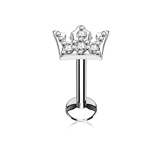 Inspiration Dezigns Labret Stud CZ Paved Crown 316L surgical Steel Internally threaded (16G, L: 5/16