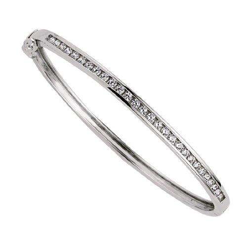Jewelco Londres filles argent rhodié cz bracelet rigide éternité