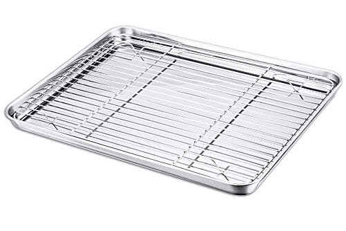 P&P CHEF Baking Sheet and Rack Set, Stainless Steel Cookie Sheet Baking Pan Tray with Cooling Rack, Non Toxic & Healthy, Rust Free & Dishwasher Safe