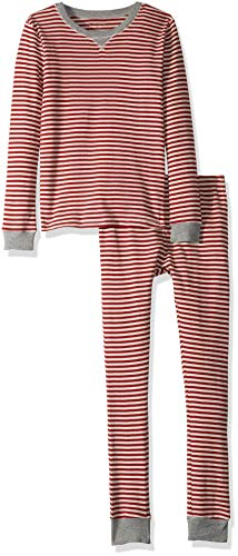 (Burt's Bees Baby Unisex Baby Pajamas, 2-Piece PJ Set, 100% Organic Cotton (12 Mo-7 Yrs), Cranberry Candy Cane Stripe, Months)