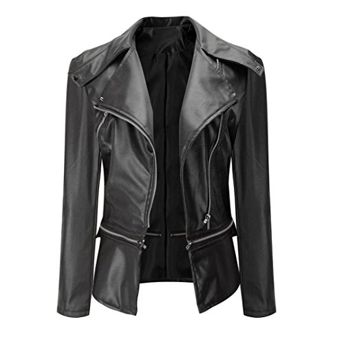 spyman Warm Nice Fashion Biker Motorcycle leather zipper jacket women short (50s Biker Girl)
