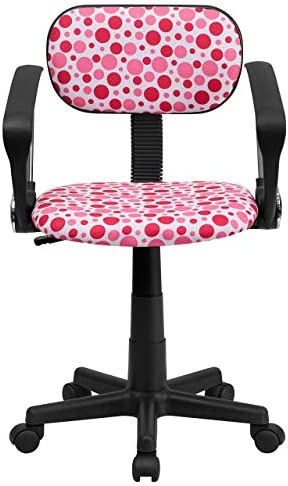 Flash Furniture Pink Dot Printed Swivel Task Office Chair with Arms
