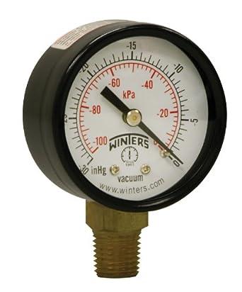 """Winters PEM Series Steel Dual Scale Economy Pressure Gauge, 0-160 psi/kpa, 1-1/2"""" Dial Display, +/-3-2-3% Accuracy, 1/8"""" NPT Bottom Mount"""