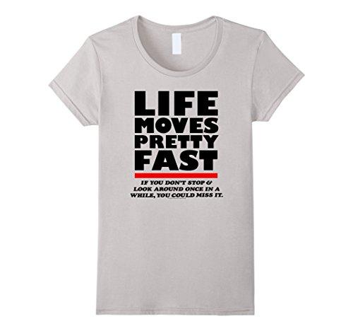 Women's Ferris Bueller Life Moves Pretty Fast XL Silver (Womens Fast Life)