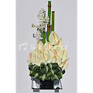 Modern Artificial Lemon Anthurium Orchid and Bamboo Floral Table Arrangement 4
