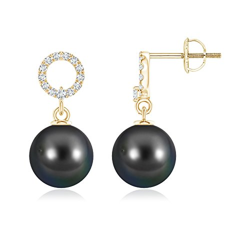 Tahitian Cultured Pearl Circle Drop Earrings with Diamonds in 14K Yellow Gold (8mm Tahitian Cultured Pearl)