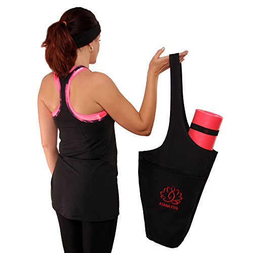 Asana Fits Yoga and Gym Mat Bag – Black Cotton Canvas Tote with 2 Elastic Straps + Headband | Shoulder Carrier for Women / Men Fits Most Mat Sizes + Best Yoga Exercises E-book by ASANA-FITS (Image #7)