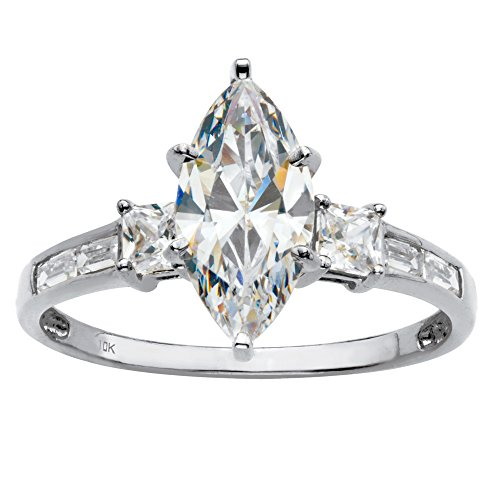 Solid 10K White Gold Cubic Zirconia Marquise Cut Engagement Anniversary Ring Size -