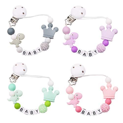 NUOBESTY Baby Fopspeen Clip Siliconen Bijtring Kralen Binky Houder Tandjes Speelgoed Voor Meisjes Jongens Soothie…