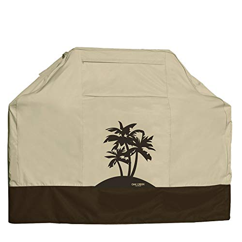 Oak Creek Designer Series BBQ Grill Covers | Heavy Duty Grill Covers Made of Waterproof Fabric Featuring Air Vents, Click Close Straps, and Pocket | 3 Palms, Lonely Oak, or Pine Grove Design