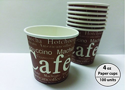 - Royal packaging suppliers Disposable Paper Cups 4oz Cup,100 Count,brown with white letters Paper Hot Cups,Coffee Cup,Bathroom Cups,Single wall cup