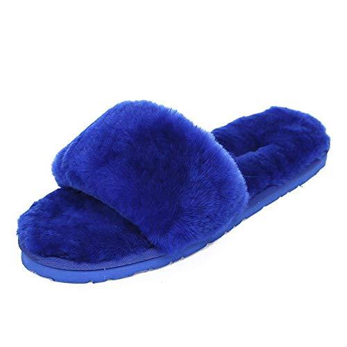 Color 38 6 Zapatillas De Lana 2 Invierno Felpa 12 Casa Oveja 37 4 35 5 7 Tamaño Azul 9 Púrpura Piel 14 8 36 10 11 13 3 39 4PPdqrwx