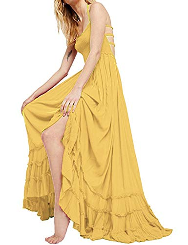 (SEBOWEL Women's Sexy Blackless Halter Boho Ruffle Swing Flowy Maxi Party Dress Yellow-M)