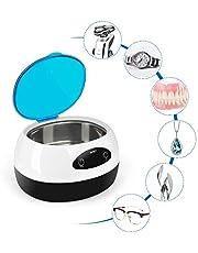 INTEY Nettoyeur à ultrasons 750ml, Nettoyeur à ultrasons domestique pour lunettes, bijoux, dentiers, montres, 5 Cycle de temps, Nettoyeur Ultrasonique avec Panier, 50 W, 4200Hz