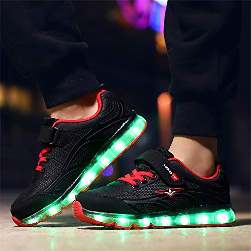 Lampeggiante Carica Led Running rosso Luminosi Sneakers 7 Traspirante Ansel Usb Ragazzi Ultraleggero Baskets uk Sport Scarpe Ragazze Per Basso Colori Sportive Shoes Bambini E Nero O6Zp7Sq5w6