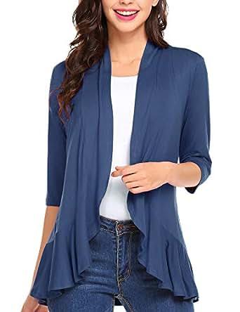 Zeagoo Women's Open Front 3/4 Sleeve Draped Ruffles Knit Cardigan, Blue, Medium