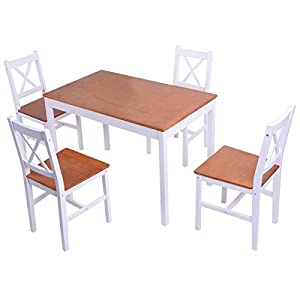 Giantex 5PCS Pine Wood Dinette Dining Set Table And 4 Chairs Hom
