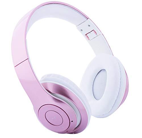 Ipod Headphones Dj Mp3 (HD Wireless Bluetooth Over-Ear DJ Stereo Professional Studio Headphones HD Beats Full Device Control Micro SD Input FM Tuning for iPhone Ipad iPod Android Samsung Etc (BFHM Rose Gold))