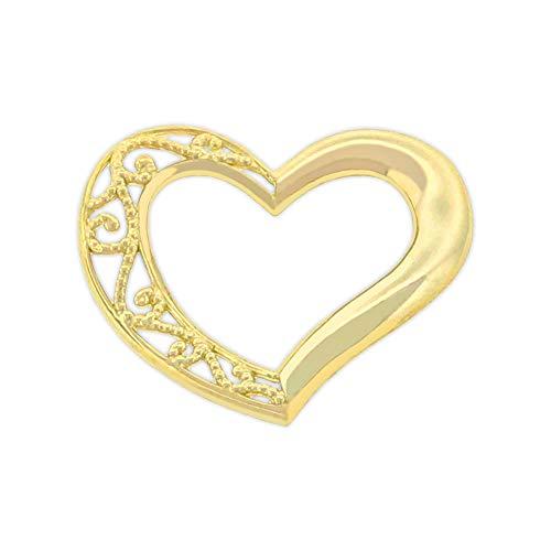 Charm America - Gold Small Sliding Heart Charm - 10 Karat Solid Gold -