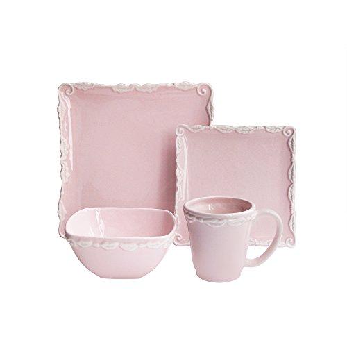 American Atelier 16 Piece Bianca Wave Square Dinnerware Set, Pink -