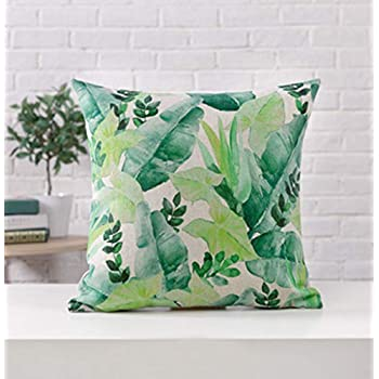 Amazon Com Meloody Green Plant Leaves Throw Pillow Case