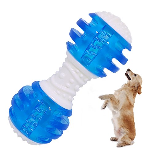 CEESC Puppy Chew Toys Bones, Soft TPR Tooth Cleaning Bone Sound Squeaky Toy for Small and Medium Dogs (Blue)