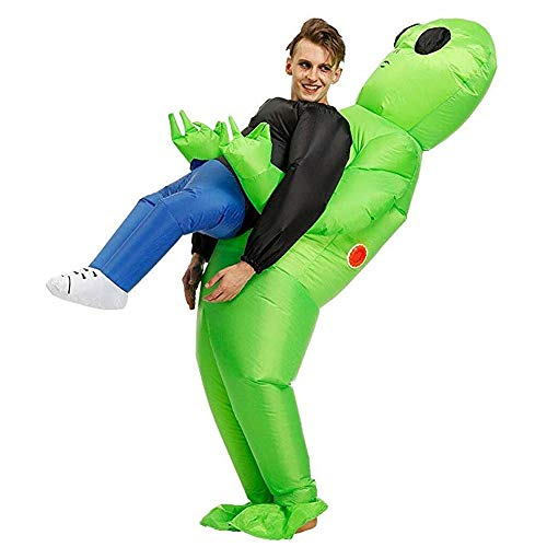 Inflatable ET Monster Costume Scary Green Alien Cosplay Costume for Woman Adult Masquerade Halloween Party Festival Stage Performance -