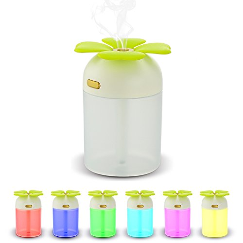 Mystery Four Leaf Clover Mini Humidifier Portable USB Desktop Cool Mist Humidifier with Colorful LED Night Light for Home Office
