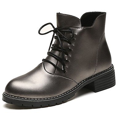 US8 Mid Women'S Toe Calf Black Block RTRY EU39 Boots Pu Fall CN40 Round Fashion 5 Comfort 5 Casual Heel Lace Boots Boots Gray Shoes For Up UK6 1PdqPpx7