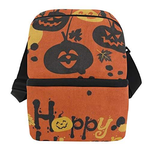 Lunch Bag Cartoon Pumpkin Bat Happy Halloween Insulated Cooler Bag Womens Leakproof Grocery Organizer Zipper Tote Bags for -