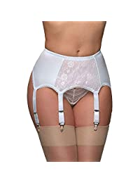 do.Cross Women's Sexy Lace Mesh Suspender Extender Thigh Highs Stockings Garter Belt with 6 Adjustable Straps