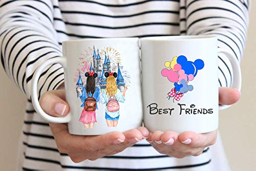 Custom Best Friend Gift Mug, Custom Message Mug, Personalized BFF Mug, Gift for Sister, Best Friend Forever, Long Distance Friendship Mug Mickey Castle Disney