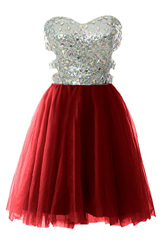 MACloth Women Strapless Cutout Sequin Short Prom Evening Dress Formal Ball Gown Burgunderrot aBGd2Af